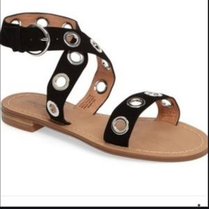 HALOGEN/ leather strap grommet sandals
